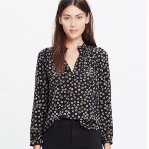 Madewell Silk Memory Stencil Blossom Top Small